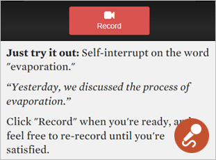 Image contains: Screen capture of training module showing instructions for recording practice.